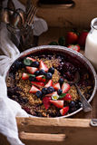 Berry crumble cake made on grill Royalty Free Stock Image