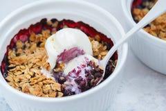 Berry crumble dessert with cream ice-cream. Berry crumble with cream ice-cream in a ceramic form Royalty Free Stock Image