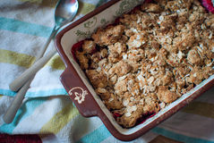 Berry Crumble Pie. Top view. Selective focus Royalty Free Stock Photo