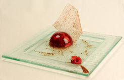 Berry dessert jelly on a glass plate Royalty Free Stock Photos