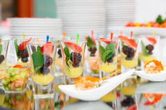 Berry dessert in shot glasses Stock Photo