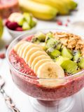 Berry dessert smoothie banana Kiwi Apple Parsley Raspberry Nuts Granule for Breakfast. Berry dessert smoothie banana Kiwi Apple Parsley Raspberry Nuts for Royalty Free Stock Photography