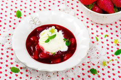 Berry dessert with strawberry and ice cream Stock Photography