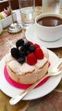 Berry Dessert y café Foto de archivo libre de regalías
