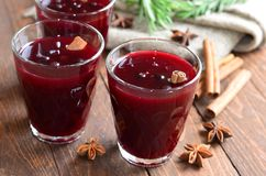 Berry drink, kissel in glasses with spices stock images