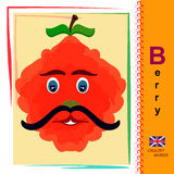 Berry. English alphabet. Abc. Card with English words. Education. English Vector Image stock illustration