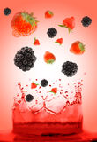 Berry falling in juice. Royalty Free Stock Photos