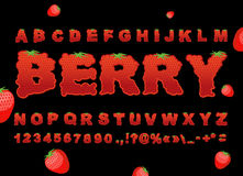 Berry font. Strawberry ABC. Red fresh fruit alphabet. Letters fr Stock Images