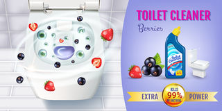 Berry fragrance toilet cleaner gel ads. Vector realistic Illustration with top view of toilet bowl and disinfectant container. Hor Stock Image