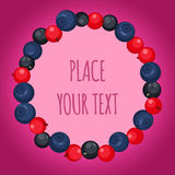Berry frame. With text template. Fresh, summer, sweet background Stock Photos