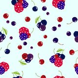 Berry fresh vector seamless pattern on light blue abstract background texture illustration, vegetable and fruit smoothie concept royalty free illustration