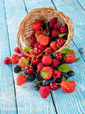 Berry fruit in basket placed on old wooden planks Royalty Free Stock Image