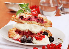 Berry fruit cake with cream cheese Stock Image