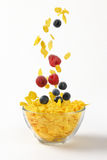 Berry fruit falling in corn flakes Stock Photography