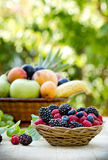 Berry fruit (Healthy food) in wicker basket Royalty Free Stock Photography