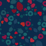 Berry fruit and hearts. Seamless background Royalty Free Stock Image