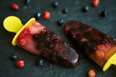 Berry fruit ice pops stock photography
