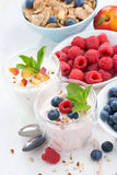 Berry and fruit yoghurt for breakfast, close-up, vertical Stock Photos