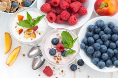 Berry and fruit yoghurt for breakfast, top view Stock Photography