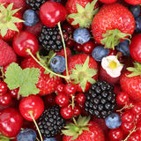 Berry fruits background with strawberries, blueberries and raspb Royalty Free Stock Photography