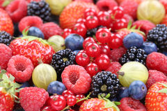 Berry fruits berries collection strawberries, blueberries raspbe Stock Photos