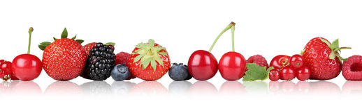 Berry fruits border strawberry raspberry, cherries in a row isol Stock Image