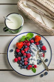 Berry fruits with cream Royalty Free Stock Photography