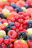 Berry fruits fresh berries collection strawberries, blueberries Stock Images