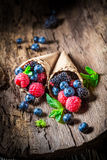 Berry fruits ice cream in waffels as concept. Closeup of berry fruits ice cream in waffels as concept stock photography