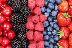 Berry fruits in a row with strawberries, blueberries and cherrie. Berry fruits background in a row with strawberries, blueberries, cherries, raspberries and Stock Image