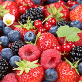 Berry fruits in summer with strawberries, blueberries and raspbe Royalty Free Stock Image