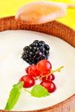 Berry fruits in yogurt Stock Photo