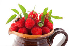 Berry garden hybrid of blackberry and raspberry in a clay jug Royalty Free Stock Photo