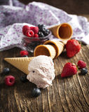 Berry ice cream cone Royalty Free Stock Photo