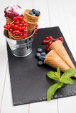 Berry ice cream cone Stock Image
