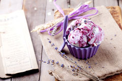 Berry ice cream with lavender flowers Royalty Free Stock Images