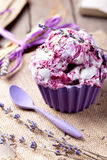 Berry ice cream with lavender flowers Royalty Free Stock Photos