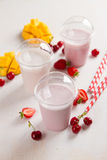 Berry  and ice cream milkshake (smoothie) Royalty Free Stock Images