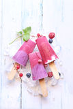 Berry ice cream popsicles Royalty Free Stock Image