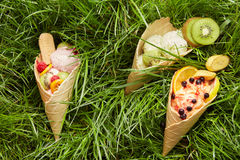 Berry ice cream in waffle cone Royalty Free Stock Images