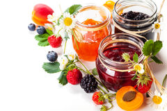 Berry jam. Apricot ,blackberry and strawberry jam on white background Stock Photo