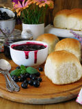 Berry jam and buns Stock Photography