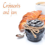 Berry jam, croissants and coffee, isolated Stock Image