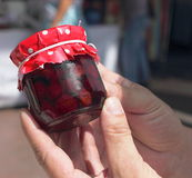Berry jam in a glass jar Stock Images