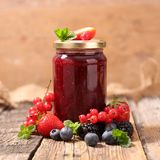 Berry jam in jar Royalty Free Stock Images