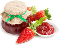 Berry jam and strawberry Stock Image