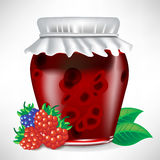 Berry jar of jam. With fruit on the side stock illustration