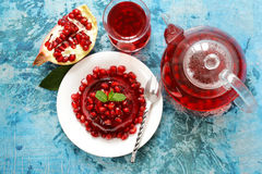 Berry jelly with fresh fruits - summer dessert Royalty Free Stock Photography