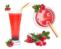 Berry juice and cowberry with leaves. Stock Image