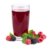 Berry juice. Raspberries and blackberries juice and fresh berries on white background Royalty Free Stock Images